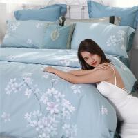 水星家纺全棉纯棉印花四件套床上用品蓝色被套被罩床单花舞幽然