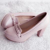 新款浅口圆头女鞋高跟鞋粗跟防水台简约OL舒适大码四季复古单鞋子