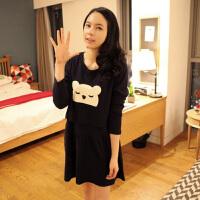 慈颜秋冬装长袖上衣韩版时尚孕妇外出喂奶衣哺乳装睡衣连衣裙LW905