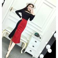 连衣裙女秋冬季2018新款韩版时尚复古名媛气质修身显瘦中长款裙子 红色