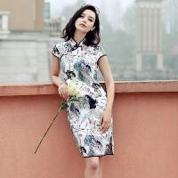 真丝连衣裙短袖旗袍领刺绣花色修身韩版高腰2017年夏季 图片色