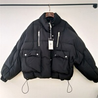 冬装新款韩版学院风宽松大码羽绒棉蝙蝠袖面包服女短款棉衣外套潮