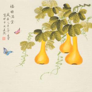著名画家 凌雪《福禄满堂》68cmx68cm
