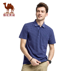 骆驼男装 夏装新款短袖t恤男士翻领半袖Polo青年条纹潮体恤