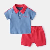 婴儿套装夏天男婴幼儿短袖衣服夏季女童运动Polo衫宝宝夏装两件套