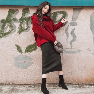 2018秋冬季新款女装毛呢卫衣上衣配短裙子港味两件套学生甜美套装 酒红色上衣+灰裙子 发货周期:一般在付款后2-90天左右发货,具体发货时间请以与客服协商的时间为准