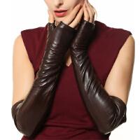 新品女士手套保暖长款护臂羊皮手套露指半掌时尚真皮手套 可礼品卡支付