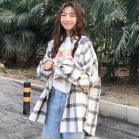 bf格子衬衫长款港风外套女学生韩版宽松bf复古学院风长袖衬衣百搭