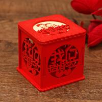 喜糖盒糖果盒结婚创意木盒中式婚礼个性定制照片糖果回礼盒婚庆喜糖盒子 红色 普通款
