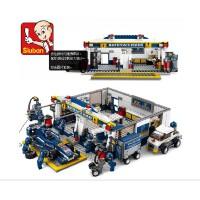 小鲁班拼装积木玩具 F1蓝光赛车-赛道维修站B0356 启蒙式拼插