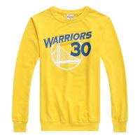 新款勇士长袖篮球球衣 萌神库里圆领卫衣 男士纯棉套头卫衣