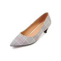 ELEISE美国艾蕾莎新品133-B-955英伦低跟尖头格子女士单鞋