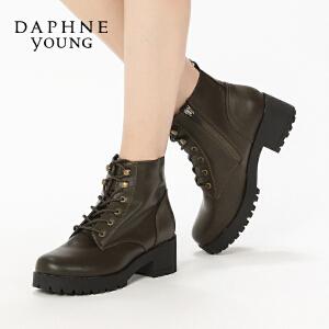 Daphne/达芙妮冬舒适休闲方跟单鞋 复古圆头系带马丁靴