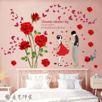 温馨浪漫玫瑰花情侣墙贴纸婚房卧室床头客厅背景墙纸装饰自粘贴画 A款 玫瑰花+红裙少女 特大