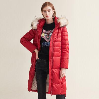 红袖长款貉子毛连帽H型羽绒服