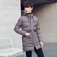 冬季连帽韩版修身帅气棉衣男士青年服外套潮流青年冬装中长款