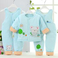 男女宝宝婴幼新生儿童棉服婴儿棉衣套装冬 三件套 棉袄背带裤