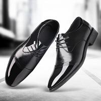 新款春季男士皮鞋软皮商务正装尖头英伦内增高男鞋系带休闲结婚鞋