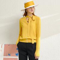 【到手价:140元】Amii设计感多变领带V领针织衫上衣女2020春新款双曲纱开衫外套女