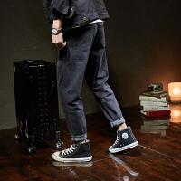 【1折价59.9元】唐狮秋季新款黑色牛仔裤男潮牌宽松直筒男士牛仔裤港风韩
