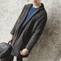 冬季潮新款加厚毛呢大衣男韩版宽松呢子外套中长款情侣装纯色风衣