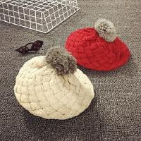 女童帽子秋冬儿童贝雷帽针织毛线帽宝宝帽子婴儿画家帽毛球韩版潮