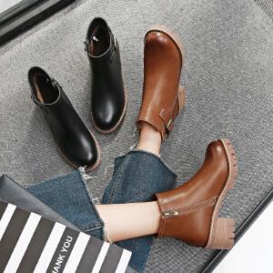 毅雅2017秋冬新款短靴低跟平底英伦风女马丁靴粗跟皮带扣侧拉链裸靴
