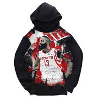 秋冬季新款篮球运动外套男士詹姆斯哈登针织棉卫衣圆领印花套头连帽NBA运学生休闲上衣