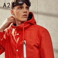 以纯A21秋冬新款纯色连帽风衣男 潮流青年个性时尚运动简约百搭男外套