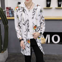 个性中长款防晒风衣男士韩版薄款防晒服发型师修身披风潮流行开衫