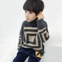 男童高领毛衣套头秋儿童针织衫马海毛中大童