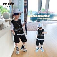 【2件2折】左西童装男童夏装套装儿童运动男孩中大童夏季帅气潮2021新款洋气