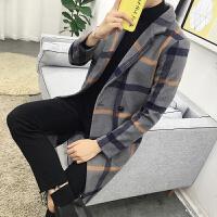 风衣男秋冬装加大码格子毛呢修身外套韩版青年西装领长款呢子大衣