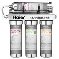 海尔净水机HU602-4(A)级超滤机 自来水直饮机 不锈钢外壳带压力表