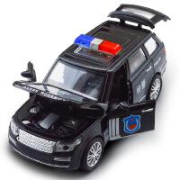 建元 儿童仿真路虎 宝马X6合金警车模型 声光回力四开玩具车玩具 路虎白色警车