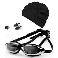 送女士泳帽 高清防水防雾电镀游泳眼镜鼻夹耳塞游泳套装SN2175