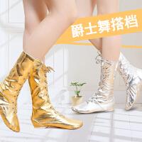 铁箭金银色高帮加长舞蹈鞋靴爵士靴马靴高筒亮革儿童演出舞台鞋