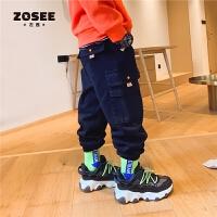 【2件2折】ZOSEE左西童装男童裤子冬装加绒儿童工装裤加厚中大童2021新款潮