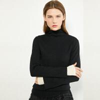 【折后价:185元/再叠券】Amii极简时髦纯羊毛毛衣2021春新款撞色大码假两件高领针织上衣女