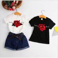 女童上衣夏季新款韩版中小童甜美可爱纯色印花玫瑰短袖T恤 潮