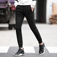 冬季运动裤男加厚黑色小脚男休闲裤收口长裤宽松卫裤 黑色