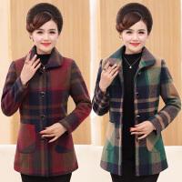 中年女装秋冬装外套新款40岁50长袖上衣中长款大码妈妈装毛呢外套