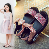女童�鲂�公主鞋蝴蝶�Y�W生亮片平底�鲂��和�沙�┬�