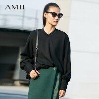 Amii极简主慵懒风潮羊毛宽松卫衣女春季新款V领保暖黑色上衣