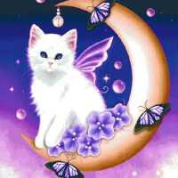 魔方钻石画卧室儿童卡通系列钻石十字绣小猫贴钻画砖石秀新 满钻魔方钻 45*60厘米