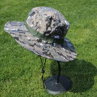 男士迷彩防晒帽大帽檐渔夫帽女士可折叠登山帽徒步摄影速干遮阳帽 可折叠,带防风绳