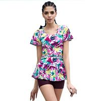 新款短袖大码保守遮肚修身显瘦平角连体泳衣女82524 紫色印花 XL