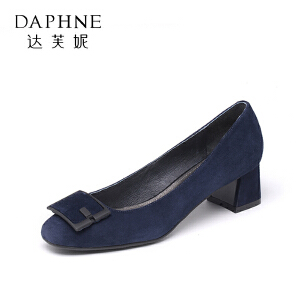 Daphne/达芙妮低跟方跟方扣浅口女单鞋