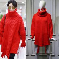 秋冬明星杨紫机场同款红色高领宽松中长款针织衫加厚毛衣女 红色高领毛衣