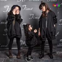 2018秋冬季童装韩版女童风衣外套中大童亲子装长款加厚棒球服夹棉